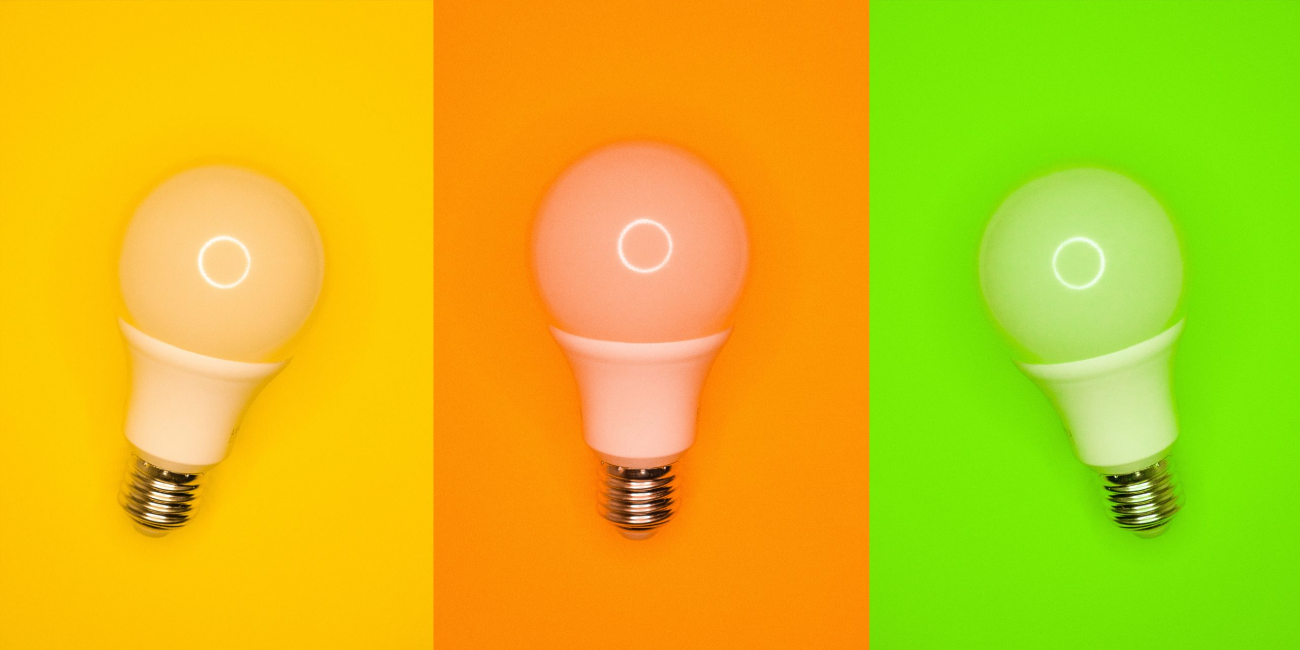 three brightly coloured lightbulbs on coloured backgrounds