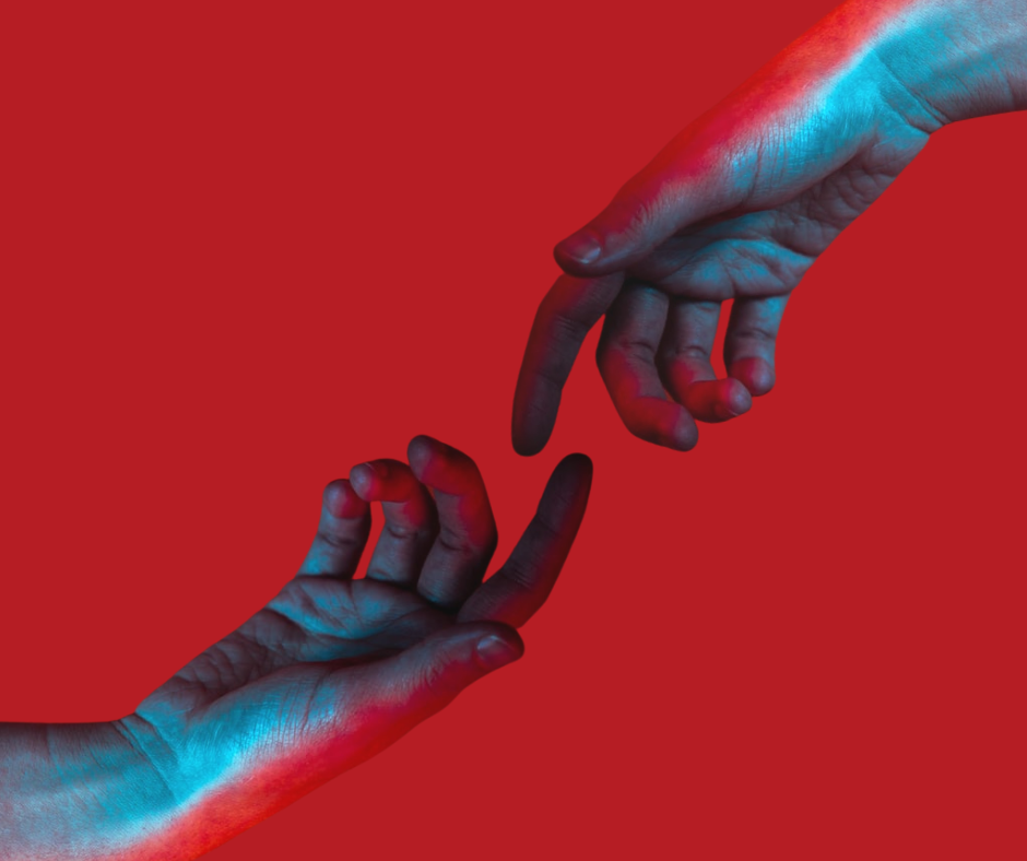 two hands connecting over red background